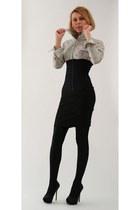 corset Vedette bodysuit - striped H&M shirt - sparkle Zara heels