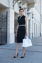 black Mango dress - white birkin Hermes bag - black asymmetrical Zara heels