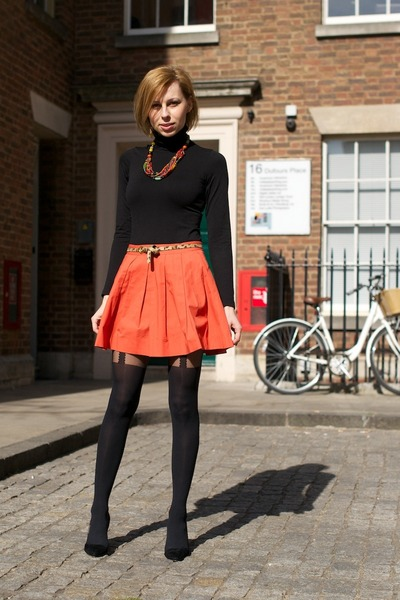 orange Zara skirt - brown panther printed Orsay belt