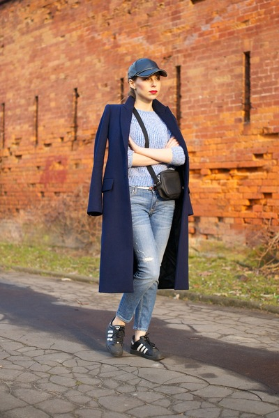 navy Zara coat - light blue ripped Zara jeans - light blue new look sweater