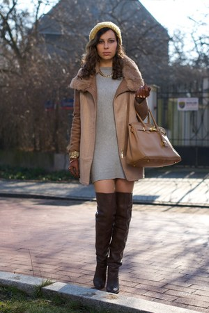 dark brown overknee Zara boots - heather gray dress - bronze romwe coat