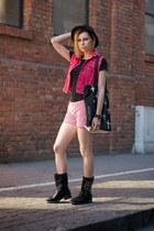black H&M hat - white striped Zara shorts - ruby red jeans second hand vest