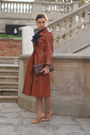 Bronze-leather-vintage-coat-navy-vila-shirt-camel-leather-zara-skirt