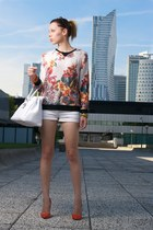 orange Zara heels - white H&M shorts - green floral Zara blouse