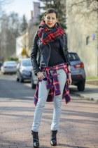 black leather Zara jacket - red Cubus shirt - blue checkered Zara scarf