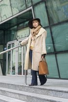 cream claire dk coat - navy DKNY jeans - dark brown H&M hat - bronze H&M scarf