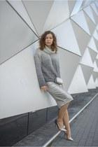 silver clutch H&M bag - heather gray turtleneck Marks & Spencer sweater