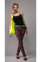 lime green pull&bear bag - hot pink colorful H&M pants - red studded Zara flats