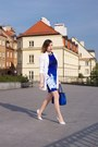 Blue-romwe-dress-white-asymmetrical-zara-heels-white-h-m-cardigan