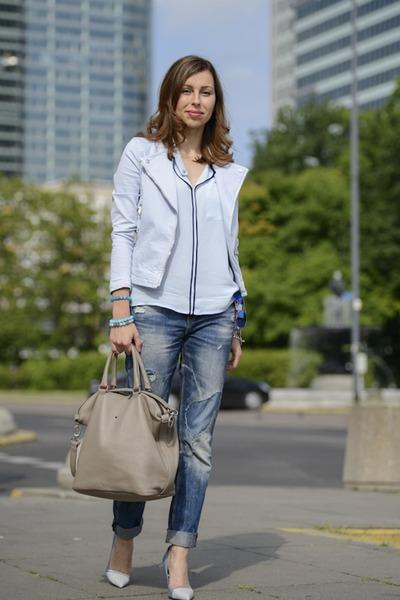 light blue Zara jacket - light blue Zara shirt