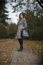 gray with belt Orsay coat - black overknee boots - heather gray long H&M sweater