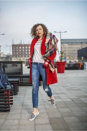 red Zara coat - periwinkle Zara jeans - light brown checkered Zara scarf