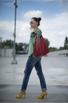 sky blue ripped Zara jeans - lime green Zara shirt - red bag