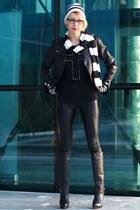Zara boots - asos jacket - armani leggings - H&M scarf - Bershka blouse