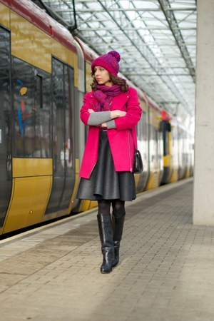hot pink Atmosphere coat - black Zara boots - heather gray chicnova sweater