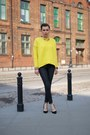 Yellow-oversized-zara-sweater-black-waxed-zara-pants