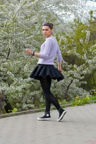 black neoprene skater H&M skirt - periwinkle Zara sweater