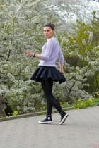 black neoprene skater H&M skirt - periwinkle Zara sweater