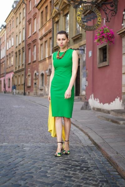 green Zara dress - yellow sweater - red Promod necklace