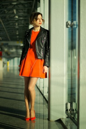 black leather Zara jacket - carrot orange Front Row Shop dress