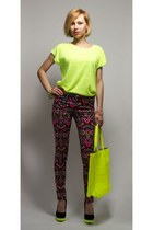 chartreuse shopper pull&bear bag - lime green oversize carry blouse