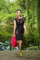 black second hand dress - hot pink batycki bag - chartreuse Zara sandals