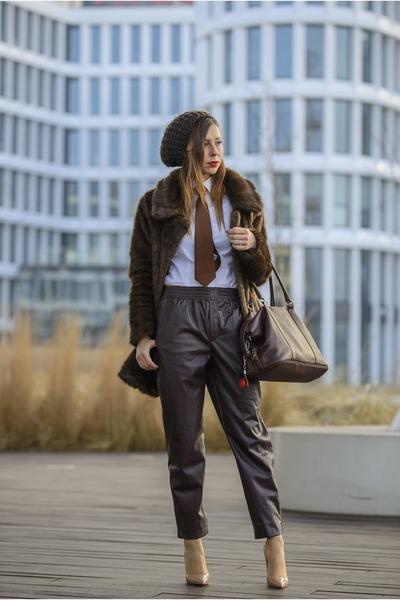 dark brown faux fur second hand coat - white Zara shirt - dark brown vintage tie