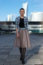 Light-blue-tartan-second-hand-blazer-black-atmosphere-top