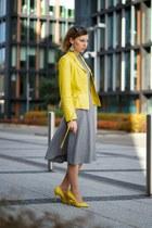 yellow leather jacket - heather gray wool Zara dress - yellow Aldo heels