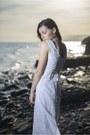 White-linen-no-name-dress-black-studded-zara-sandals