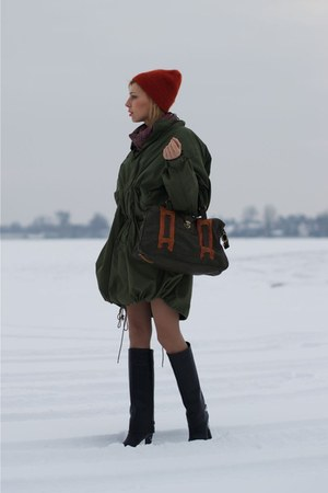 black givenchy like Zara boots - carrot orange beanie H&M hat
