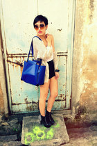 Topshop shorts - Jeffrey Campbell shoes - Henry Holland for Le Specs sunglasses