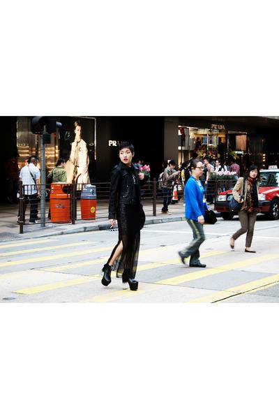 asos dress - Armani Exchange jacket - UNIF heels