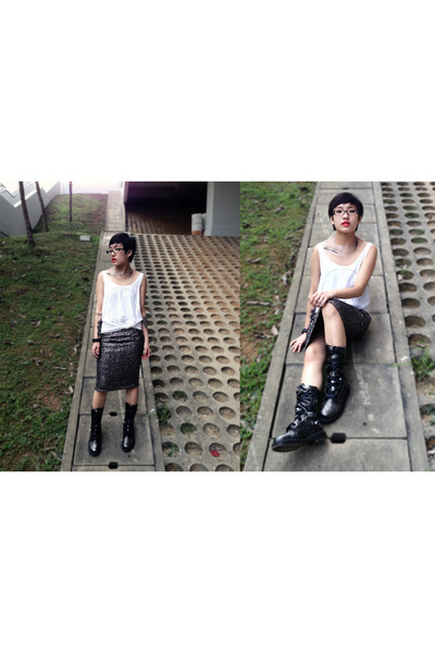DrMartens boots - Topshop skirt - Cheap Monday vest