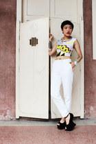 Topshop top - Jeffrey Campbell heels - Topshop pants - H&M x MMM necklace