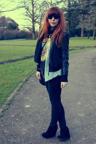 black faux leather H&M jacket - black Zara leggings - light blue H&M shirt