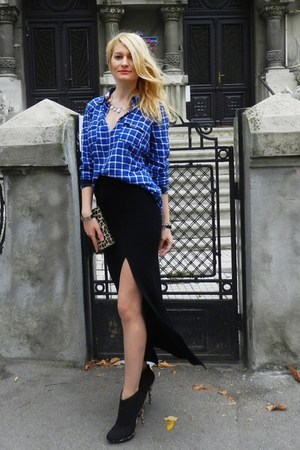 plaid c&a shirt - new look boots