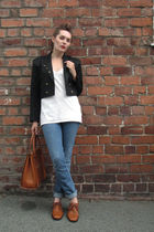 black vintage blazer - white Mongrel t-shirt - blue J Brand jeans - brown Grenso