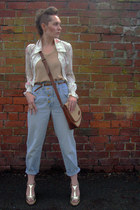 high waisted thrifted vintage jeans - Jane Shilton bag - vintage from Ebay wedge