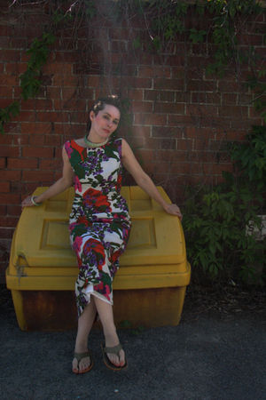 green Local Artist accessories - from local vintage boutique dress - green Mahar