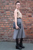 no brand vest - vintage Etam vest - vintage bag - vintage jaeger skirt - Jeffrey