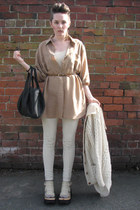 oversized silk thrifted shirt - Alexander Wang bag - wool cable knit thrifted vi