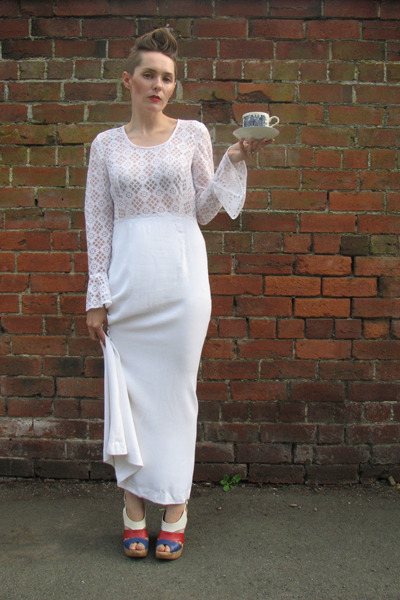 lace maxi thrifted vintage dress - dune wedges