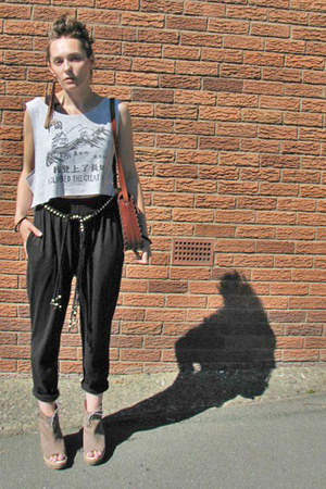 harem joggers thrifted pants - tooled leather thrifted vintage bag