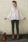White-vintage-marks-and-spencer-blouse-green-next-jeans-brown-vintage-bullbo