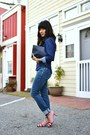 Navy-bullhead-jeans-navy-h-m-top-red-vintage-pumps