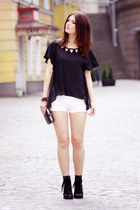 leather Chicwish boots - white cotton Zara shorts - chiffon Sugarlips top