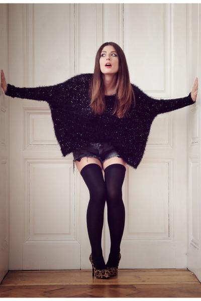 black sequined Chicwish top - blue denim Zara shorts