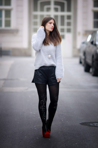 heather gray Chicwish sweater - black glitter Chicwish tights