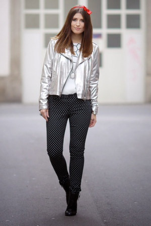 silver leather Mango jacket - black polka dots Orsay jeans